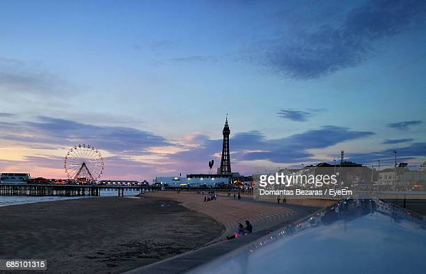 Amusement Park By Beach Against Sky During Sunset In Blackpool