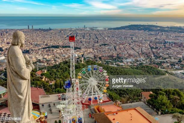 amusement park parque de atracciones, tibidabo, barcelona, catalonia, spain - tibidabo stock pictures, royalty-free photos & images