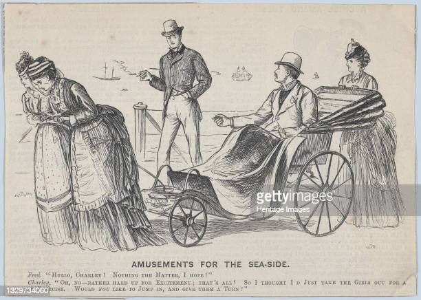 """Amusements for the Sea-side , 1873. """"Hullo, Charley! Nothing the matter, I hope?"""" / Charley: """"Oh, No--Rather hard up for excitement; that's all! So I..."""