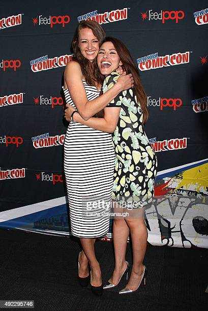 Amy Acker and Sarah Shahi of 'Person of Interest' attend New York Comic Con 2015 Day 4 at The Jacob K Javits Convention Center on October 11 2015 in...