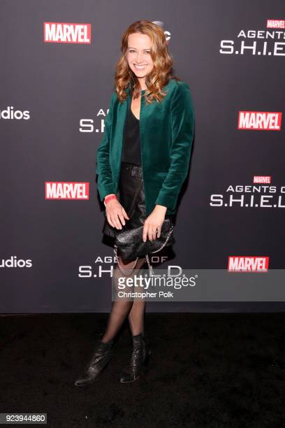 """Amy Acker attends the 100th episode celebration of ABC's """"Marvel's Agents of S.H.I.E.L.D."""" at OHM Nightclub on February 24, 2018 in Hollywood,..."""