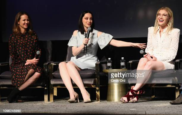 Amy Acker Emma Dumont and Skyler Samuels speak onstage at 'The Gifted' screening during SCAD aTVfest 2019 at SCADshow on February 8 2019 in Atlanta...