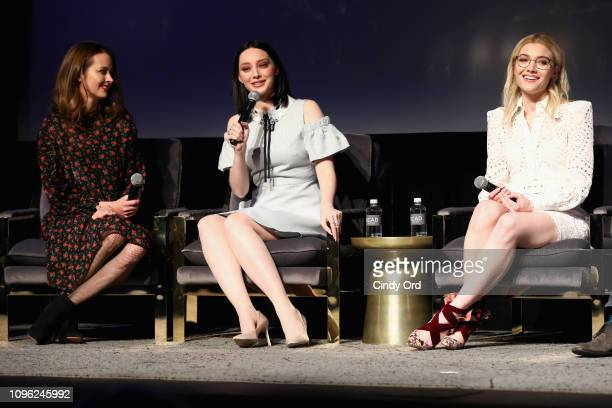 Amy Acker Emma Dumont and Skyler Samuels speak onstage at The Gifted screening during SCAD aTVfest 2019 at SCADshow on February 8 2019 in Atlanta...