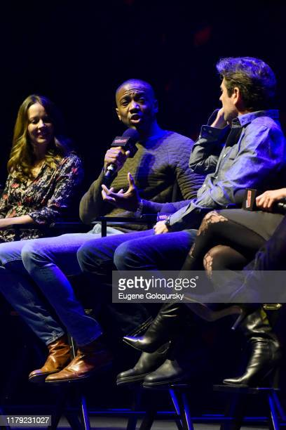 Amy Acker, J. August Richards, and Alexis Denisof speak on stage at the Angel - 20th Anniversary panel during New York Comic Con at Hammerstein...