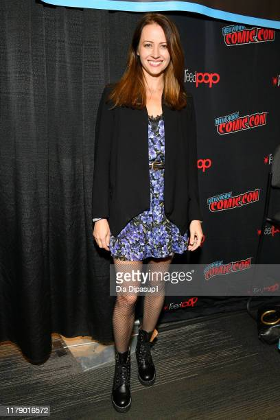Amy Acker poses for a photo during New York Comic Con 2019 - Day 2 at Jacobs Javits Center on October 04, 2019 in New York City.