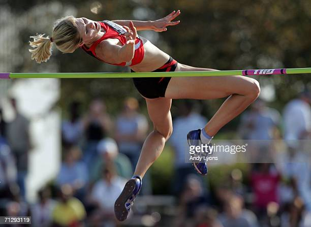 Amy Acuff competes in the women's high jump on the third day of the AT&T USA Outdoor Track and Field Championships at Indiana University Track and...
