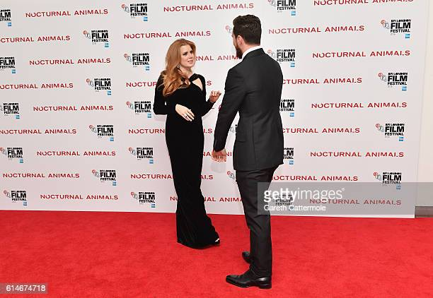 Amy Adams and Aaron TaylorJohnson attend the 'Nocturnal Animals' Headline Gala screening during the 60th BFI London Film Festival at Odeon Leicester...