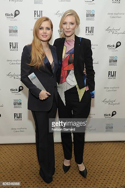 Amy Adams and Cate Blanchett pose backstage during IFP's 26th Annual Gotham Independent Film Awards at Cipriani Wall Street on November 28 2016 in...