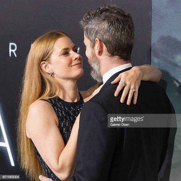 Amy Adams and Darren Le Gallo arrives for the Premiere Of Paramount Pictures' Arrival at Regency Village Theatre on November 6 2016 in Westwood...