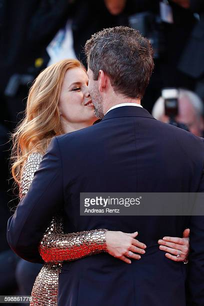 Amy Adams and Darren Le Gallo attends the premiere of 'Nocturnal Animals' during the 73rd Venice Film Festival at Sala Grande on September 2 2016 in...