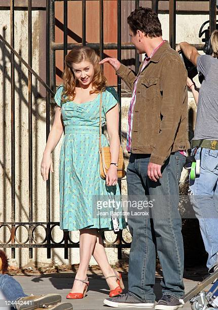 Amy Adams and Jason Segel are seen on location for 'The Muppets' on November 13 2010 in Los Angeles California