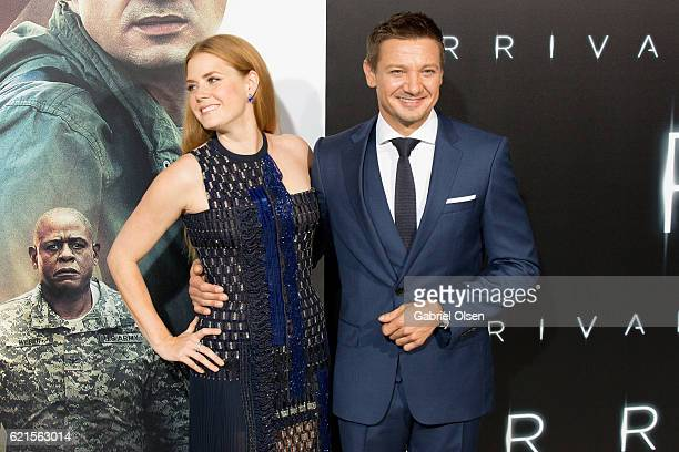 Amy Adams and Jeremy Renner arrive for the Premiere Of Paramount Pictures' 'Arrival' at Regency Village Theatre on November 6 2016 in Westwood...