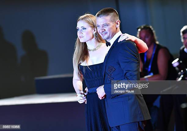 Amy Adams and Jeremy Renner attend the premiere of 'Arrival' during the 73rd Venice Film Festival at Sala Grande on September 1, 2016 in Venice,...