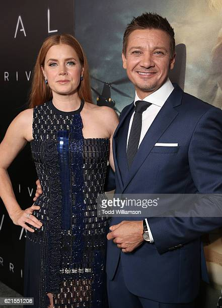 Amy Adams and Jeremy Renner attend the Premiere Of Paramount Pictures' 'Arrival' at Regency Village Theatre on November 6 2016 in Westwood California
