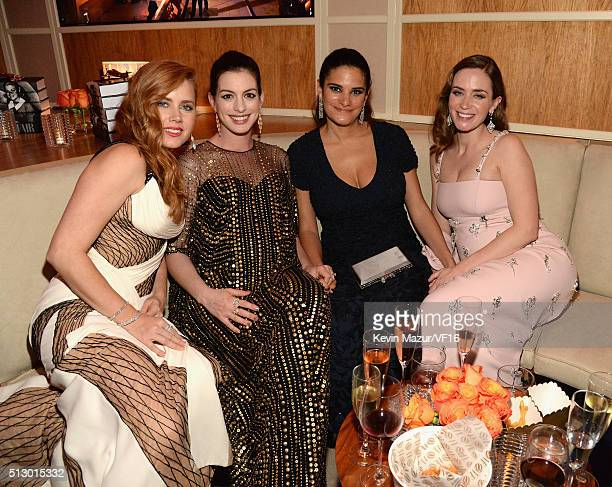 Amy Adams Anne Hathaway and Emily Blunt attend the 2016 Vanity Fair Oscar Party Hosted By Graydon Carter at the Wallis Annenberg Center for the...