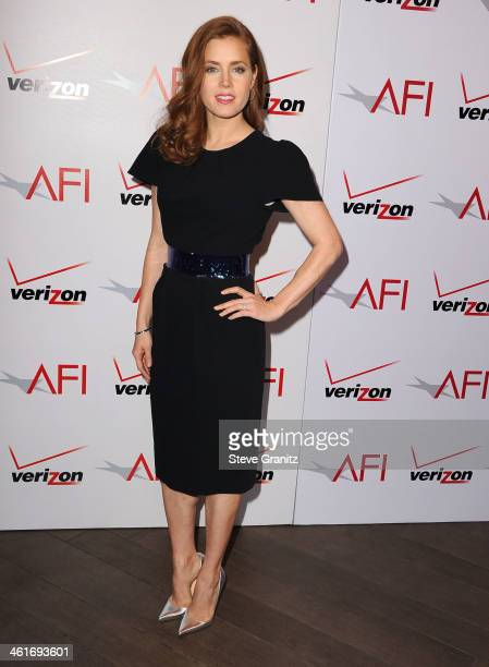 Amy Adams arrives at the American Film Institute Awards Luncheon at Four Seasons Hotel Los Angeles at Beverly Hills on January 10 2014 in Beverly...