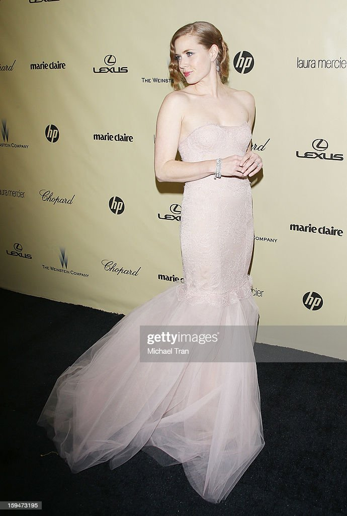 Amy Adams arrives at The Weinstein Company's 2013 Golden Globes after party held at The Beverly Hilton Hotel on January 13, 2013 in Beverly Hills, California.