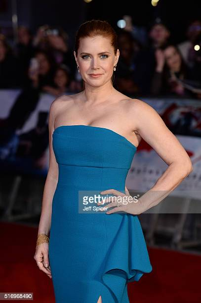 Amy Adams arrives for the European Premiere of 'Batman V Superman Dawn Of Justice' at Odeon Leicester Square on March 22 2016 in London England