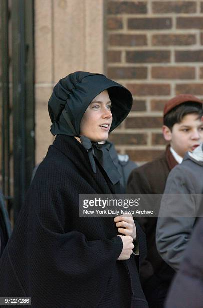 Amy Adams at the filming of the movie 'Doubt' on St Lawrence Ave in the Bronx and the director screenwriter John Patrick Shanley returns to his...