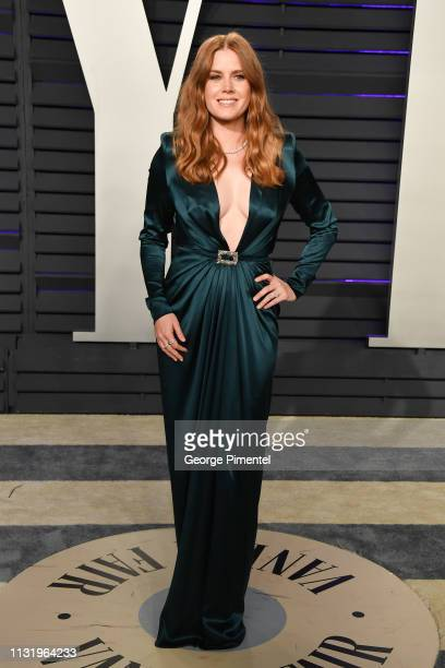 Amy Adams attends the 2019 Vanity Fair Oscar Party hosted by Radhika Jones at Wallis Annenberg Center for the Performing Arts on February 24 2019 in...