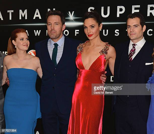 Amy Adams Ben Affleck Gal Gadot and Henry Cavill attend the European Premiere of Batman V Superman Dawn Of Justice at Odeon Leicester Square on March...