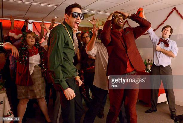 LIVE 'Amy Adams' Episode 1672 Pictured Pete Davidson and Jay Pharoah during the 'Office Christmas Party' skit on December 20 2014