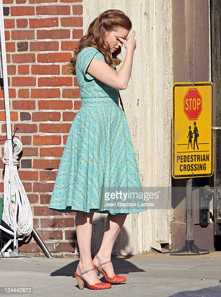 Amy Adams is seen on location for 'The Muppets' on November 13 2010 in Los Angeles California