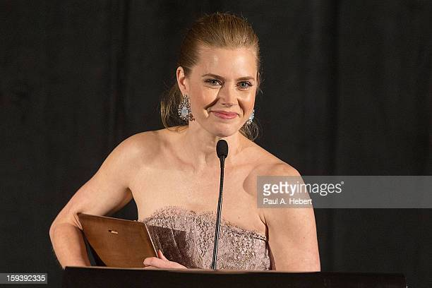 Amy Adams receives the Best Support Actress award for The Master at the 38th Annual Los Angeles Film Critics Association Awards held at the...