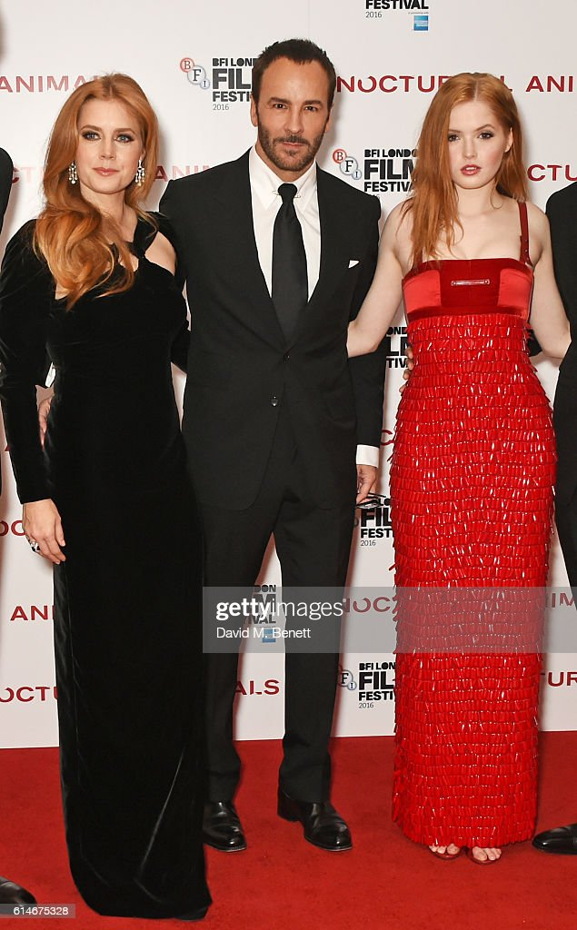 Amy Adams, Tom Ford and Ellie Bamber attend the 'Nocturnal Animals' Headline Gala screening during the 60th BFI London Film Festival at Odeon Leicester Square on October 14, 2016 in London, England.