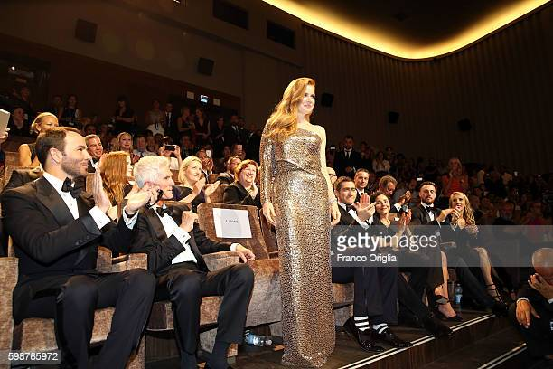Amy Adams Tom Ford and Jake Gyllenhaal attend the premiere of 'Nocturnal Animals' during the 73rd Venice Film Festival at Sala Grande on September 2...