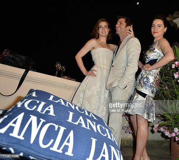 Amy Adams Zack Snyder and Antje Traue attend the Lancia Cafe during the Taormina Filmfest 2013 on June 15 2013 in Taormina Italy