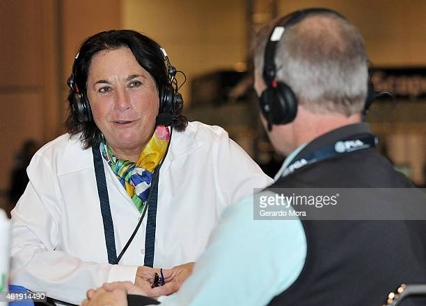 Amy Alcott and Matt Adams speak during the 'Fairways of Life Show' on SiriusXM at the PGA Merchandise 2015 at the Orange County Convention Center on...
