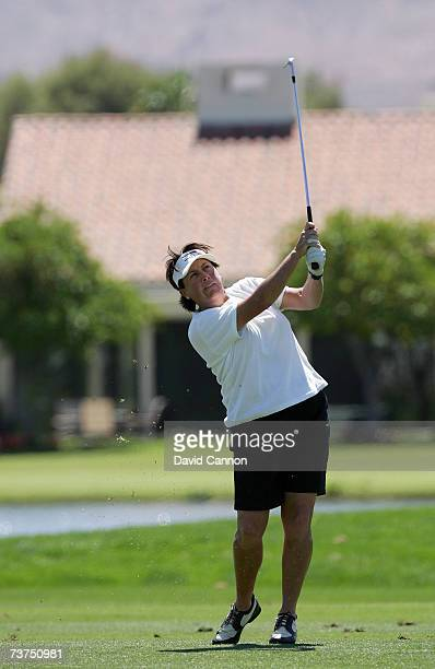 Amy Alcott of the USA hits her third shot at the par 5 18th hole during the second round of the 2007 Kraft Nabisco Championship held at Mission Hills...