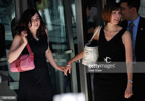 Amy and Patti Blagojevich the daughter and wife of former Illinois Governor Rod Blagojevich leave court July 26 2010 in Chicago Illinois Lawyers gave...
