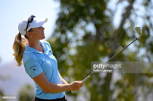 Amy Anderson makes a tee shot on the fifth hole during round three of the ANA Inspiration on the Dinah Shore Tournament Course at Mission Hills...