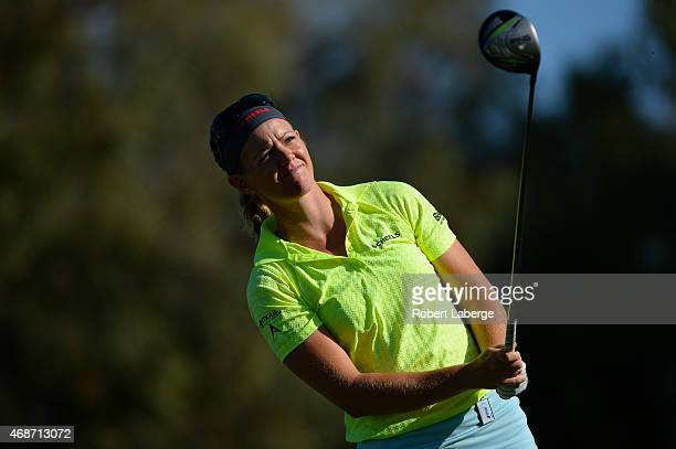 Amy Anderson makes a tee shot on the second hole during the final round of the ANA Inspiration on the Dinah Shore Tournament Course at Mission Hills...