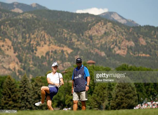 Amy Anderson misses a putt on the 17th hole during the continuation of second round of the US Women's Open at the Broadmoor on July 9 2011 in...