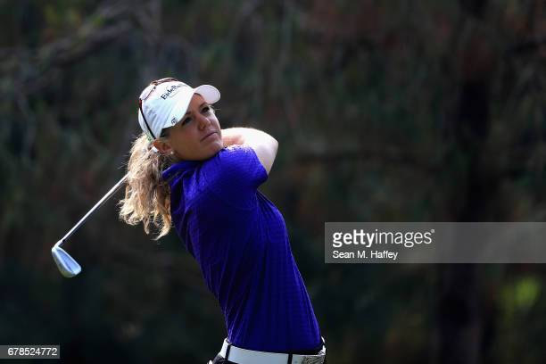 Amy Anderson of the United States tees off the third hole during the first round of the Citibanamex Lorena Ochoa Match Play Presented by Aeromexico...
