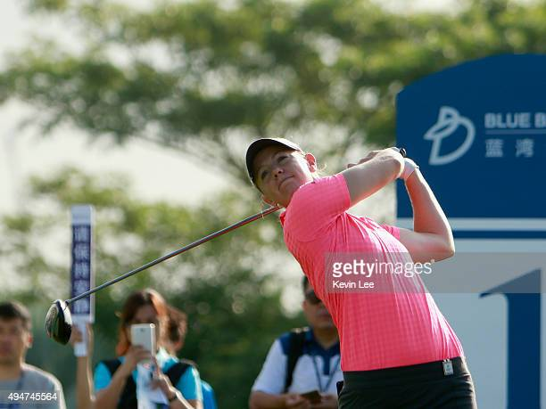 Amy Anderson of the US tee off on athe first hole during round 1 on Day 4 of Blue Bay LPGA 2015 at Jian Lake Blue Bay golf course on October 29 2015...