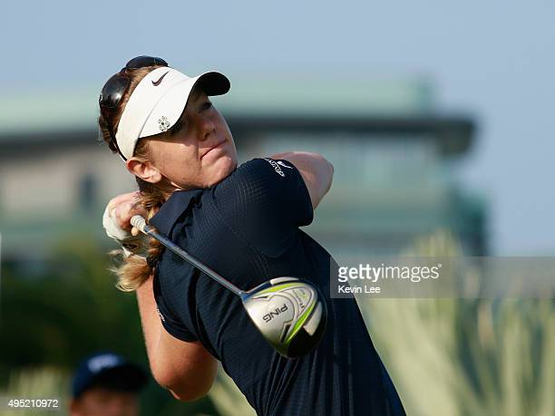 Amy Anderson of United States tee off at 10th green at final round on Day 7 of Blue Bay LPGA 2015 at Jian Lake Blue Bay golf course on November 1...