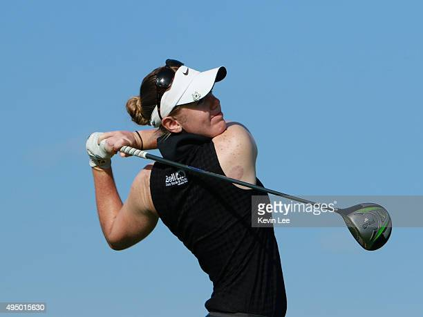 Amy Anderson of United States tee off on 10th hole in round 3 on Day 6 of Blue Bay LPGA 2015 at Jian Lake Blue Bay golf course on October 31 2015 in...