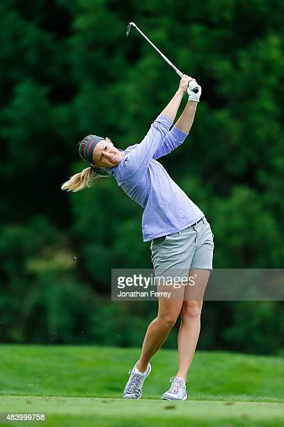 Amy Anderson tees off on the 2nd hole during the second round of the LPGA Cambia Portland Classic at Columbia Edgewater Country Club on August 14...