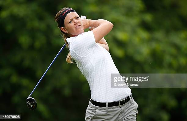 Amy Anderson watches her tee shot on the ninth hole during the first round of the Marathon Classic presented by Owens Corning and OI at Highland...