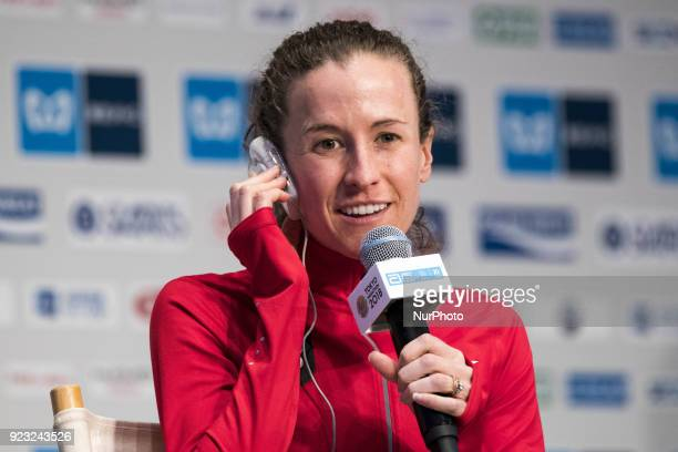 Amy answers questions during a press conference for this weekend's Tokyo marathon in Tokyo on February 23 2018 The annual competition will be held on...