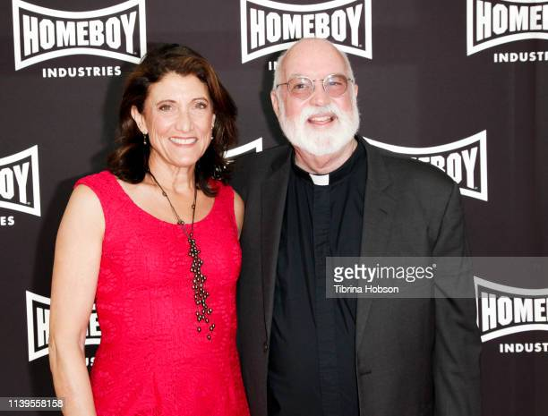 Amy Aquino and Father Gregory Boyle attend Homeboy Industries 2019 Lo Máximo Awards Dinner at JW Marriott Los Angeles at L.A. LIVE on March 30, 2019...