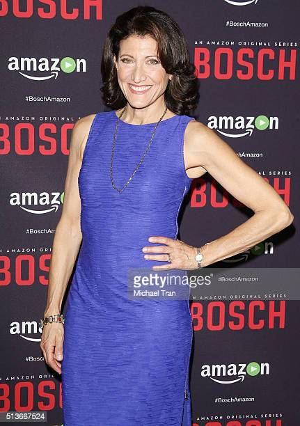 Amy Aquino arrives at the premiere of Amazon's 'Bosch' season 2 held at SilverScreen Theater at the Pacific Design Center on March 3 2016 in West...