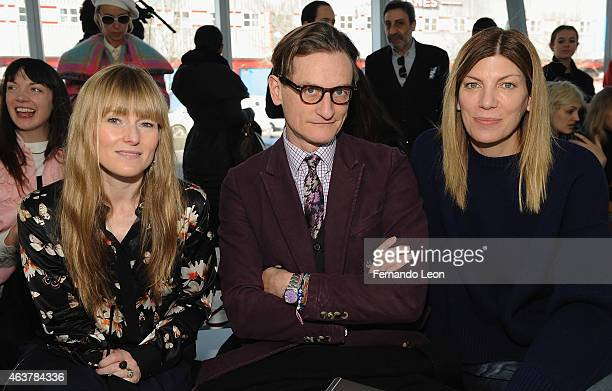 Amy Astley Hamish Bowles and Virginia Smith pose for a picture during the Delpozo runway show at IAC Building during MercedesBenz Fashion Week on...