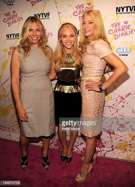 Amy B Harris AnnaSophia Robb and Candace Bushnell arrive to the red carpet world premiere of The Carrie Diaries at the New York Television Festival...