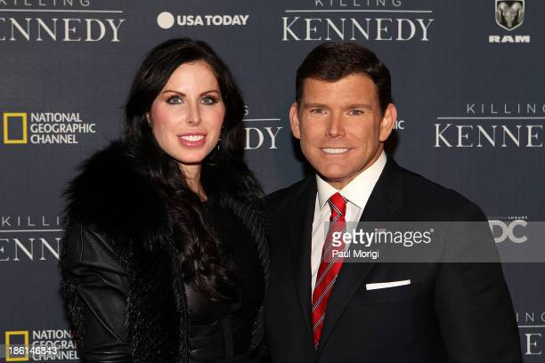 Amy Baier and Bret Baier attend the National Geographic Channel's Killing Kennedy World Premiere at The Newseum on October 28 2013 in Washington DC