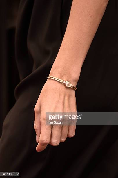 Amy Berg detail wearing a JaegerLeCoultre watch attends the 'Janis' photocall during the 72nd Venice Film Festival at the Palazzo del Casino on...